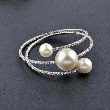 Жіночий браслет з перлами покриття срібло код 1989