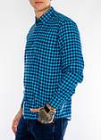 Клетчатая мужская рубашка Gelix 1200-2 синяя, фото 4