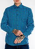 Клетчатая мужская рубашка Gelix 1200-2 синяя, фото 5