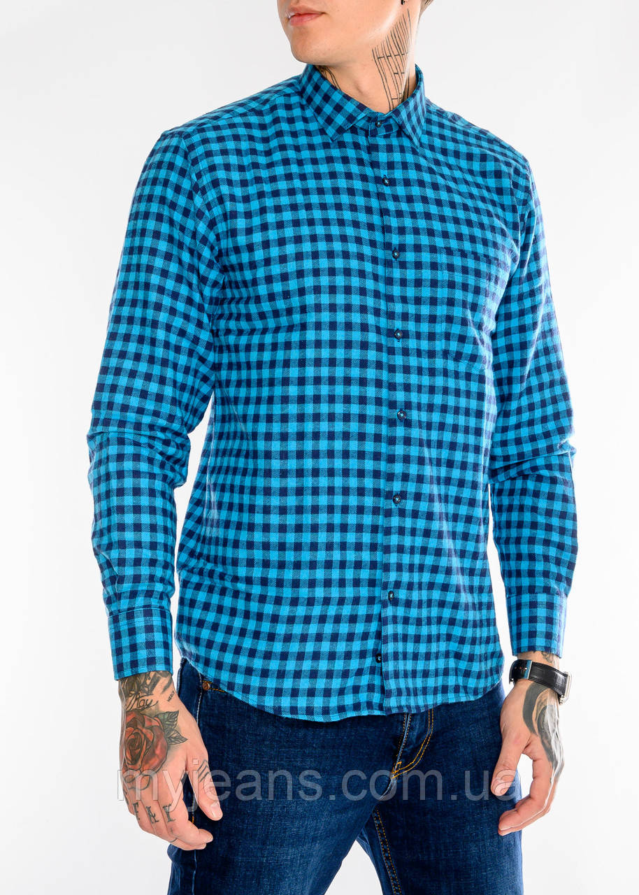 Клетчатая мужская рубашка Gelix 1200-2 синяя
