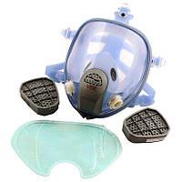 Респиратор-маска - Химик-3 с двумя фильтрами химическими угольными под байонет, силиконовая оправа | VTR