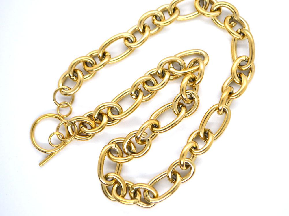 Ожерелье Крупная цепь с замком, сталь золото