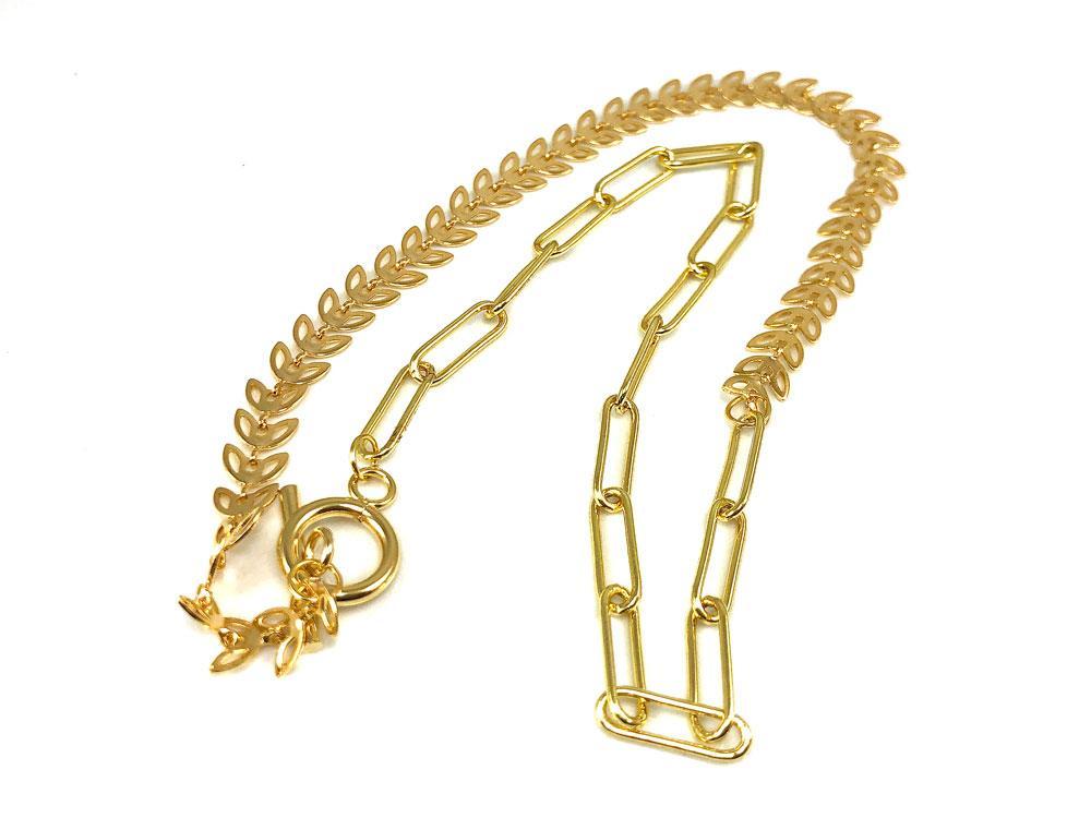 Ожерелье Крупная цепь + Листики, латунь золото