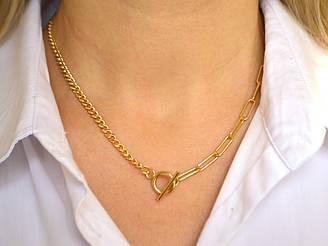 Ожерелье Крупная цепь + Мелкая цепь, латунь золото