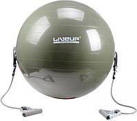 Мяч для фитнеса LiveUP с эспандером 65 см Green LS3227, КОД: 1552452