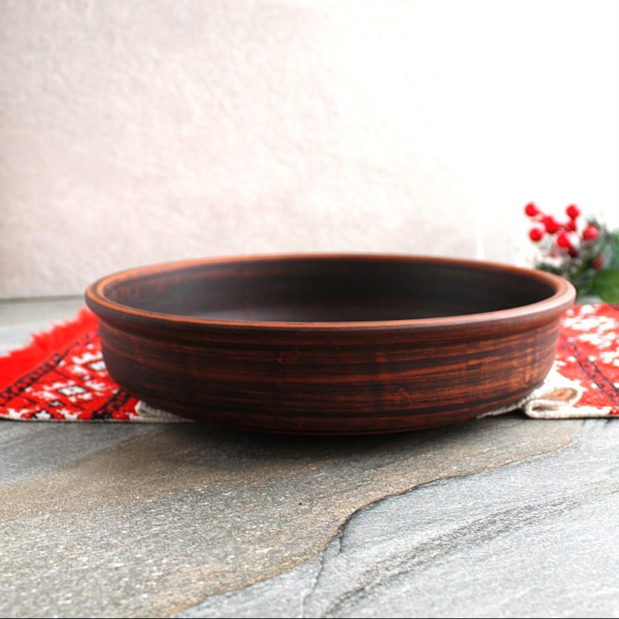 Блинница гладкая из красной глины 27 см