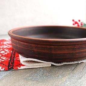 Блинница гладкая из красной глины 27 см, фото 2