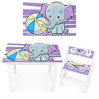 Детский стол со стульями bambi, Деревянный детский Комплект Столик и Стульчик Слоник BSM1-05 сиреневый