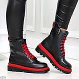 Эффектные яркие черные женские ботинки на красной шнуровке, фото 5