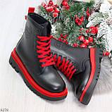 Эффектные яркие черные женские ботинки на красной шнуровке, фото 9