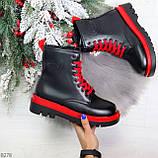 Эффектные яркие черные женские ботинки на красной шнуровке, фото 10