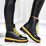 Эффектные яркие черные женские ботинки на желтой шнуровке, фото 5