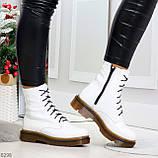 Ультра модные высокие белые женские зимние ботинки натуральная кожа 36-23 см, фото 3