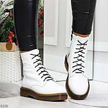Ультра модные высокие белые женские зимние ботинки натуральная кожа 36-23 см, фото 4