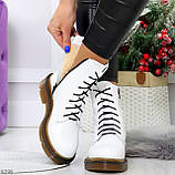Ультра модные высокие белые женские зимние ботинки натуральная кожа 36-23 см, фото 5