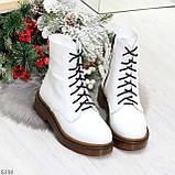 Ультра модные высокие белые женские зимние ботинки натуральная кожа 36-23 см, фото 6