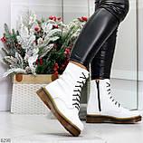 Ультра модные высокие белые женские зимние ботинки натуральная кожа 36-23 см, фото 7