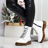 Ультра модные высокие белые женские зимние ботинки натуральная кожа 36-23 см, фото 8