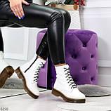 Ультра модные высокие белые женские зимние ботинки натуральная кожа 36-23 см, фото 9
