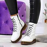 Ультра модные высокие белые женские зимние ботинки натуральная кожа 36-23 см, фото 10