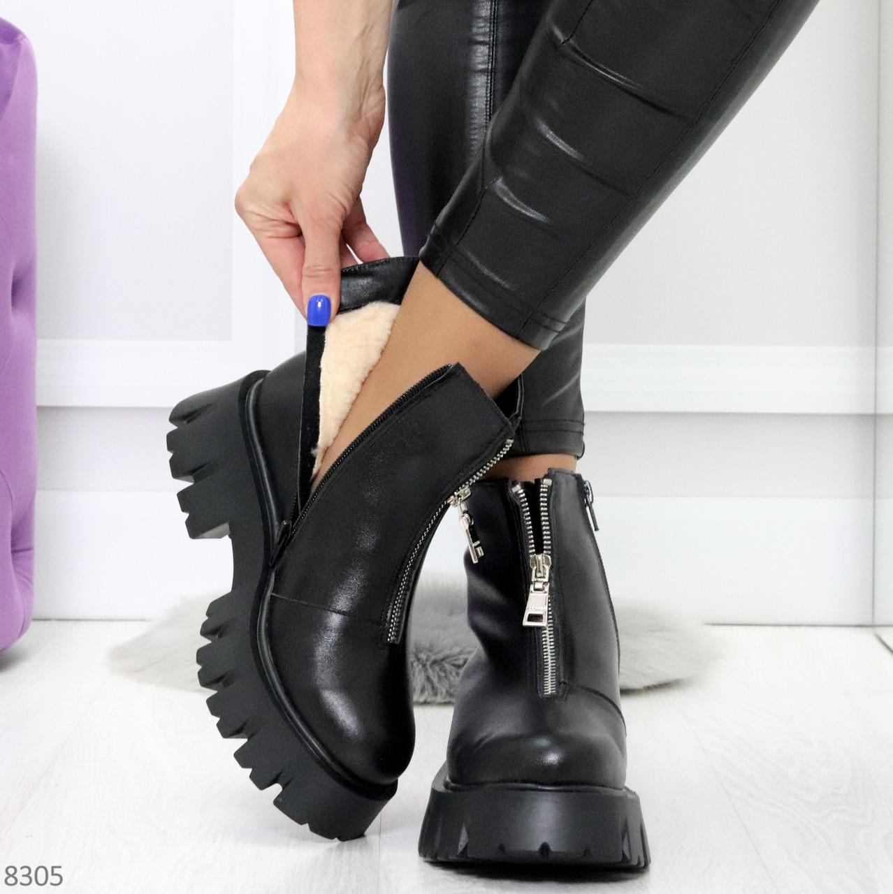 Современные трендовые черные женские зимние ботинки гриндерсы 36-23,см