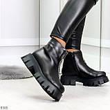 Современные трендовые черные женские зимние ботинки гриндерсы 36-23,см, фото 3