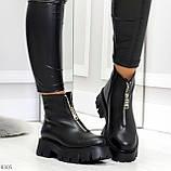 Современные трендовые черные женские зимние ботинки гриндерсы 36-23,см, фото 5