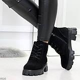 Черные женские ботинки из натуральной замши классического дизайна, фото 3