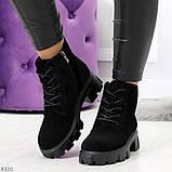Черные женские ботинки из натуральной замши классического дизайна, фото 5