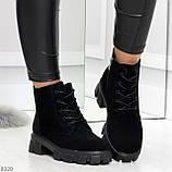 Черные женские ботинки из натуральной замши классического дизайна, фото 7