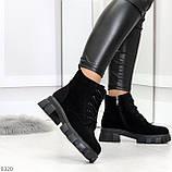 Черные женские ботинки из натуральной замши классического дизайна, фото 8