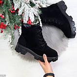 Черные женские ботинки из натуральной замши классического дизайна, фото 9