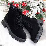 Черные женские ботинки из натуральной замши классического дизайна, фото 10