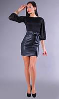 Женское платье из гипюра и кож-зама   Poliit 8009, фото 1