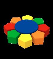 Мягкий игровой модульный комплект Пуфов Камелия из 9 элементов для детсадов и игровых центров 130х130х35 см