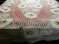 Ажурна скатертина ручної роботи з стрічковою вишивкою