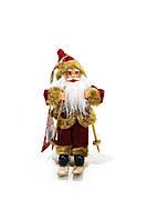 Новогодняя игрушка-сувенир Дед Мороз на лыжах Christmas gifts Красный-коричневый K23-110229