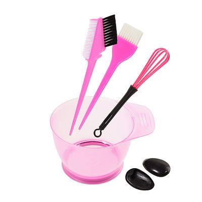 Набір інструментів для фарбування волосся - миска, кисті з гребінцем, віночок
