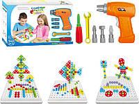 """3D Пазл Creativ Puzzle 4 в 1 конструктор """"Болтовая мозаика"""" с электроотверткой игрушки 7 развивающий детский"""