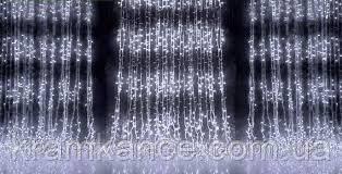 """Гірлянда новорічна світлодіодна 480Led """"Водопад 3х3м"""" (Штора) LED теплий білий (прозорий дріт)"""