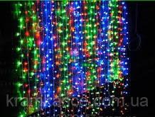 """Гірлянда новорічна світлодіодна 480 Led """"Водопад 3х3м"""" (Штора) LED MIX (прозорий дріт)"""