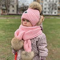 Зимний набор шапочка с одним помпоном и шарф с помпонами (шапка на завязках) цвета в ассортименте, фото 1