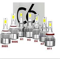 Автомобильные светодиодные Лед LED лампы C6 H3 7600lm 6000K