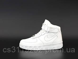 Мужские кроссовки зимние Nike Air Force High (мех) (белые)