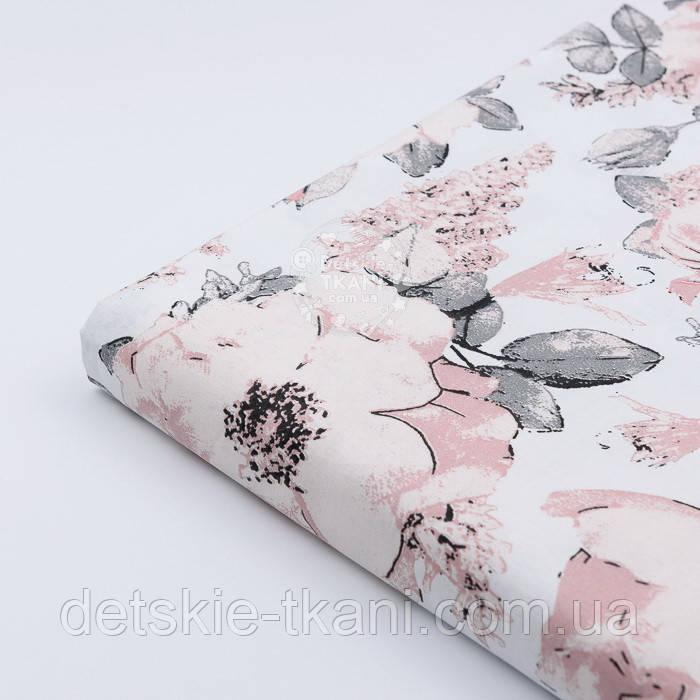 """Клапоть тканини """"Дикі троянди"""" пудрові на білому (2392), розмір 35*80 см"""