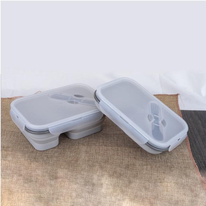 Силиконовый пищевой контейнер складной для еды с вилкой Серый (hub_yMpu96434)