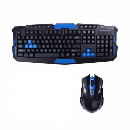 Бездротова ігрова клавіатура і миша UKC HK-8100 Чорний з синім (005761)