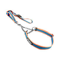 Ошейник удавка TUFF HOUND TC001 Pink Blue M (40-60 см) для собак с поводком (5700-16519)
