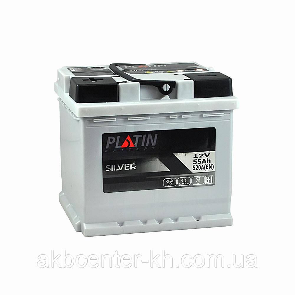 Автомобильный аккумулятор PLATIN Silver MF 6CT 55Aз 520A L (h=190)