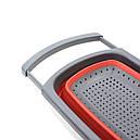 Друшляк силіконовий Cumenss з висувними ручками складаний 390/260 мм Red (4526-13112), фото 3